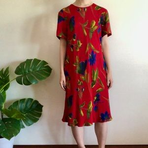 Red floral midi shift dress from Liz Claiborne